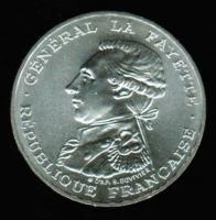 100 Francs 1987, Joseph Marquis de La Fayette, 200 Geb. + JT franz. Revolution, Silber/Piedfort