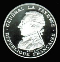 100 Francs 1987 in Silber + Piedfort, Joseph Marquis de La Fayette, 200 Geb. + JT franz. Revolution, Proof