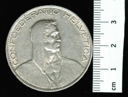 Schweiz 5 Franken, 1925 B,KM 38: Alphirt / Wertseite