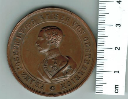 Habsburg/Österreich, 1853: 'Gott schützte Österreich, Kaiser u. Völker', Franz Joseph I./Thema, hist./zeitgen. Medaille aus Kupfer