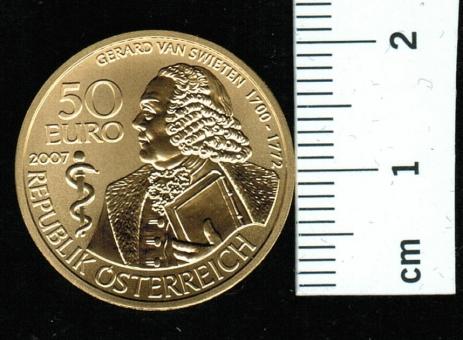 Österreich: 50 Euro, 2007: Gerald van Swieten 10 g Feingold