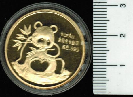 CHINA: 1/2 Unze Feingold, 1991, Panda: Munich Intern. Coin Show, Panda / Tempel des Himmels