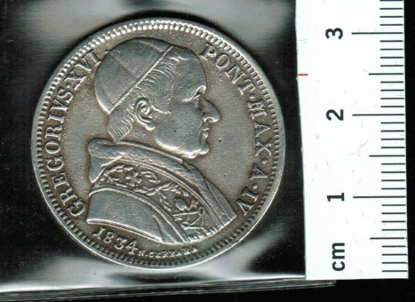 Vatican/Kirchenstaat: 50 Baiocchi = 1/2 Scudo, 1834, #Pagani 217, Papst Gregor XVI / Bekenntnis, Silber