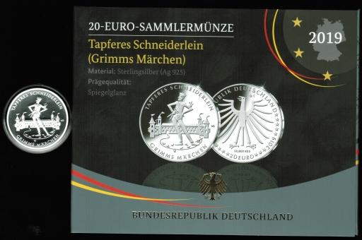 Deutschland: 20 €uro 2019 'G' / 18g/925Silber in Proof,