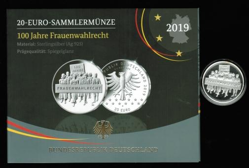 20 Euro 2019 'D': 100 Jahre Frauenwahlrecht, 18g/925Silber in PROOF
