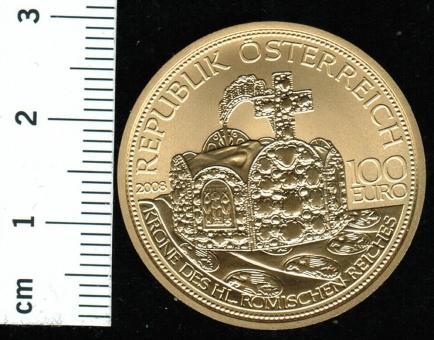 100 Euro, 2008: Krone des Hl. Röm. Reiches, 16 g Feingold