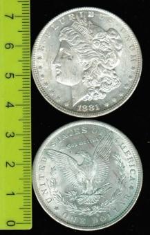 USA: Dollar, 1881 'O'  -Morgan-, Adler 'Amerika im Krieg' / Liberty-Kopf: Typ 'Morgan'