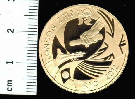 Grossbritannien: Olympiade 2012 in London, 2 Pounds 2012, Y*1208, 15,98/9162/3Gold = 15,55feinGold