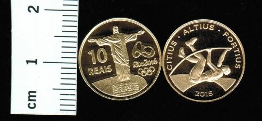 Brasilien: Olympiade Rio 2016, Stabhochspringer, 4,4g/900 Gold  *5.000 Exemplare in Kapsel