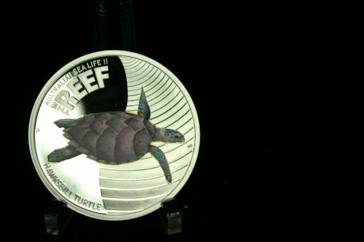 Australien: 50 Cents, 2011, 'Hawksbill'-Meeresschildkröte, 1/2 Unze 999 Silber, in Dose ''