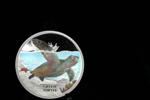 Tuvalu: 1 Dollar, 2014, Green Turtle, 1 Unze 999 Silber, bunt ''