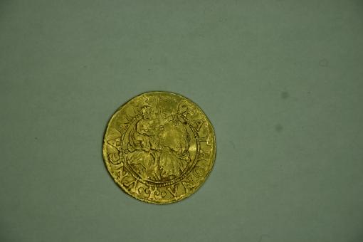 Münze Niederlande Gold-Ducat o.D. 1591 Overijssel Ungarn-Typ Hl.Ladislaus /// MON.OR.TRAN.ISL.VA.VNG ''