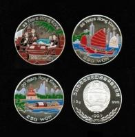 China: 3 x 250 WON, 1996/1997, Kpl. Satz mit 3 Motiven zum Vertrag von Hongkong, Silber