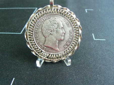 Bayern: 2 Gulden, 1845, gefaßt, als 'Charivari' geeignet, VZ