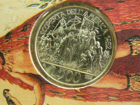 Italien: 500 Lire, 1992 / Kolumbus entdeckt Amerika, Anlandung 1492, Silber, Originalblister