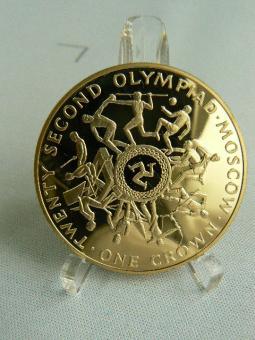 1 Crown 1980  KM*66-b: Winterspiele in Lake Placid / Sommerspiele in Moskau, 43g/916 2/3 Gold