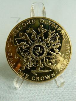 1 Crown 1980  KM*65-b: Winterspiele in Lake Placid / Sommerspiele in Moskau / 43g/916 2/3 Gold