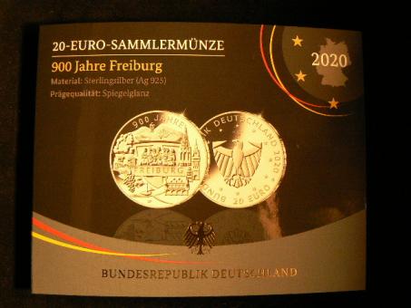 20 Euro, 2020 'G': 900 Jahre Freiburg 2020, Proof in OVP ''
