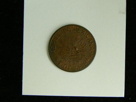 Mexico: / 5 Centavos 1915 Revolution / Chihuahua Freiheitskappe auf Strahlenkranz Kupfer ''