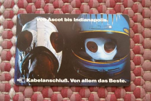 Telefonkarte: Von Ascot bis Indianapolis 40 Einh., P10/91,Köpfe eines Rennfahrers +Rennpferdes nebenein., Echtheitsgarantie