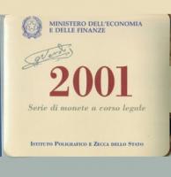 Italien: Lira-Kursmünzensatz 2001, Guiseppe Verdi / Todestag 1901, 500 + 1.000 Lire, Silber