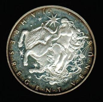 Österreich: 'Kalender-Medaille' 1997 der 'Österreich Münze', Venus/Feiertagsangaben, in Dose: 26,18/900 Silber